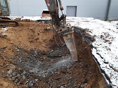 Демонтаж фундаментной плиты